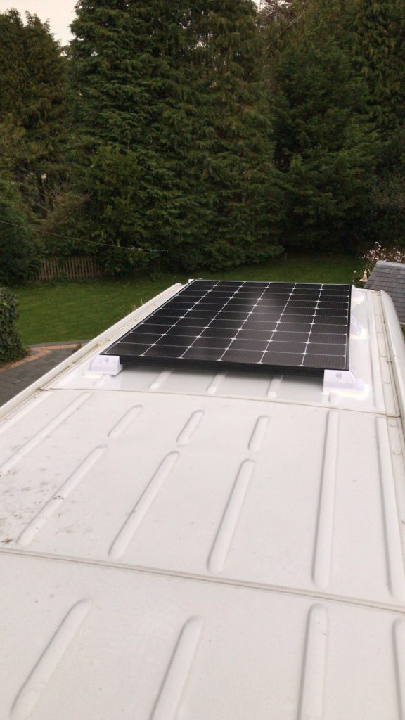 Attached solar panels with sikaflex