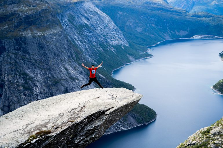 jumping on trolltunga