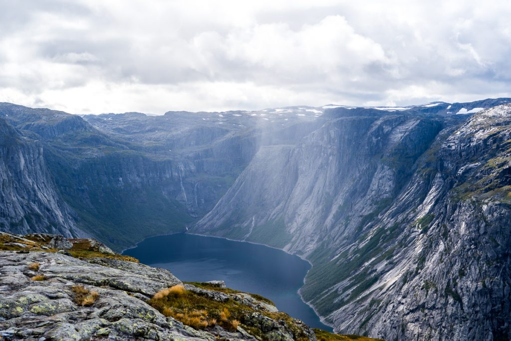 view of the lake beneath trolltunga